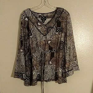 Draw string mid section blouse grey and black